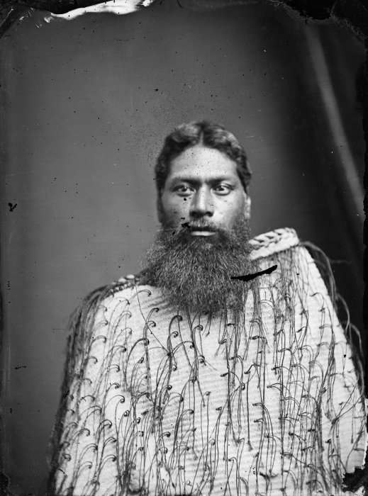 Carte de visite portrait of Komene Te Ito, chief of Mahia peninsula, wearing a korowai (tag cloak), taken, probably in the 1870s, by Samuel Carnell of Napier.