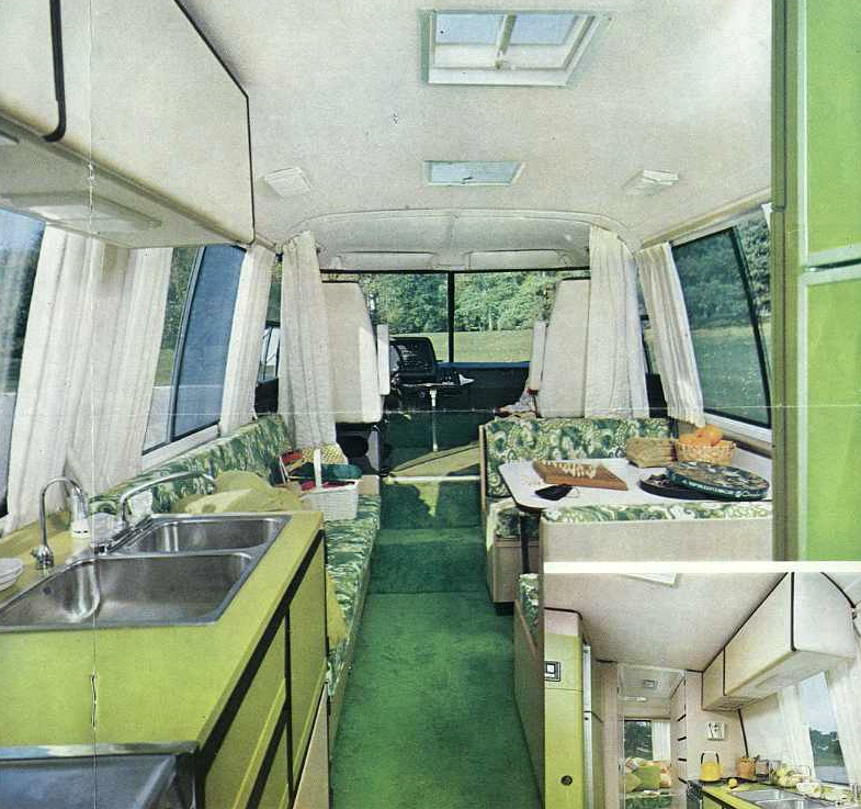 Campers of shag a look inside groovy recreational for Interior motorhome designs