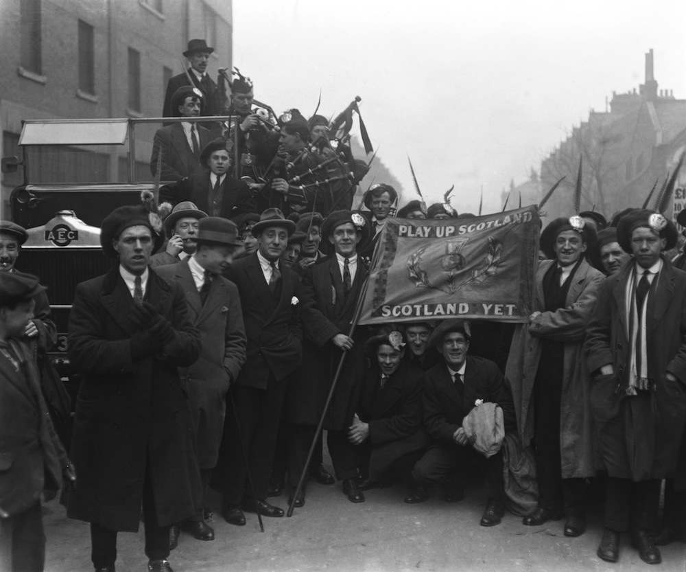 Scottish supporters before an English League V Scottish League match at Highbury, London, March 1921. (Photo by Topical Press Agency/Hulton Archive/Getty Images)