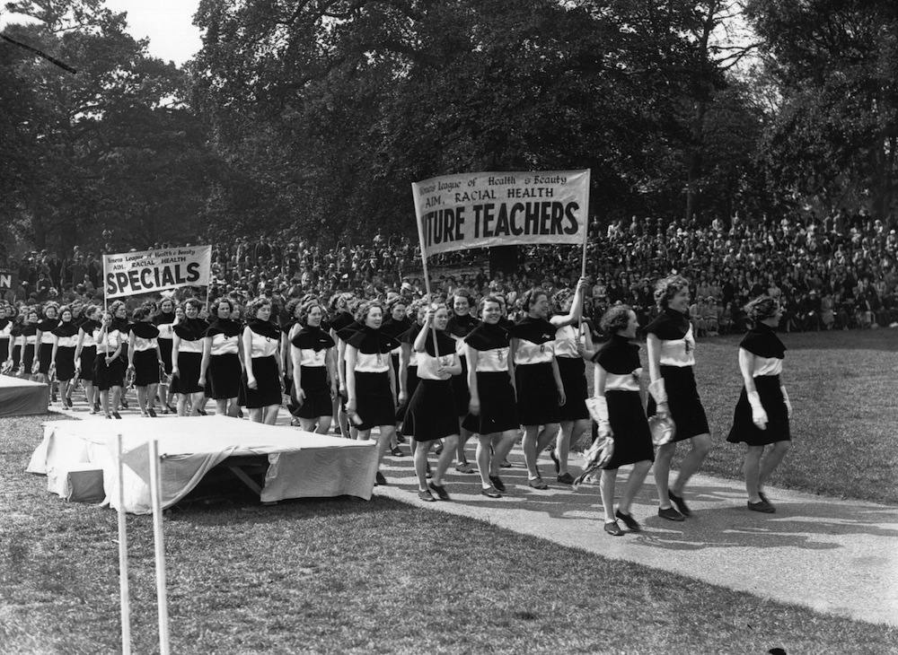 A parade by the Women's League of Health and Beauty in Hyde Park, London. (Photo by Hulton Archive/Getty Images)