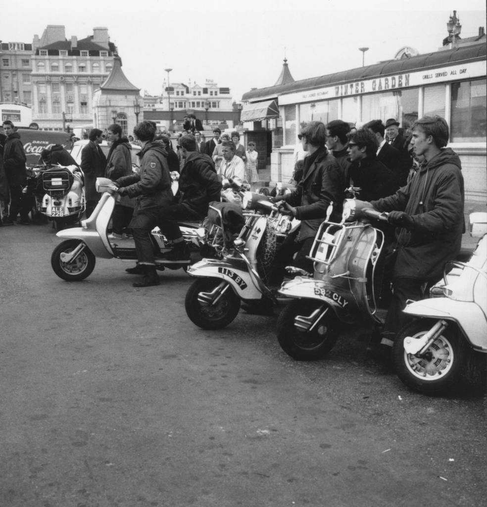 A group of mods on their scooters.    (Photo by Express Newspapers/Getty Images)