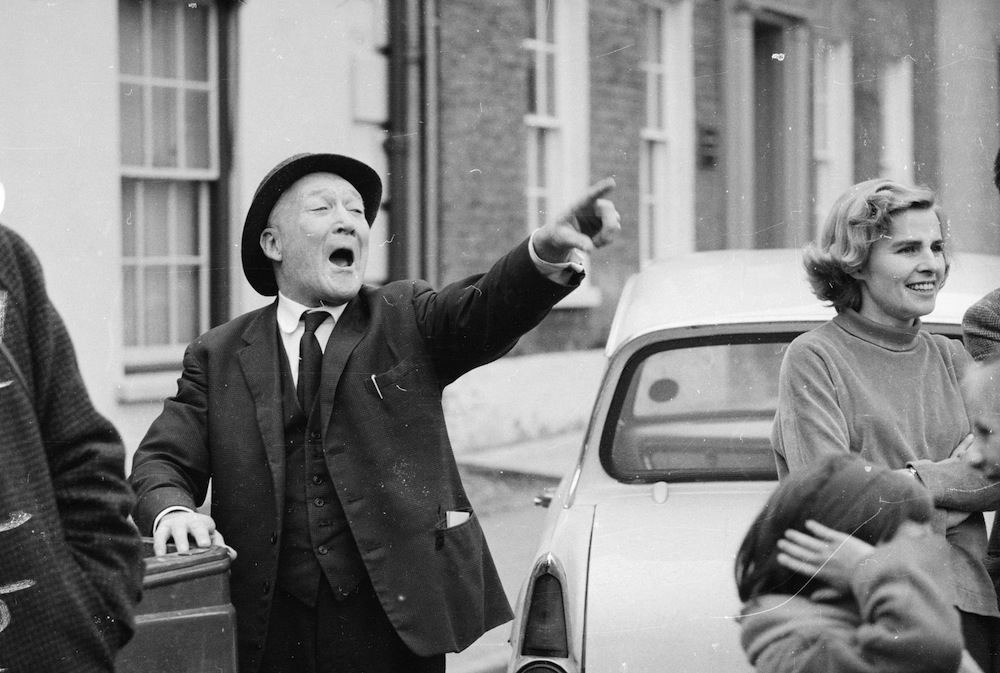 17th March 1966: Arthur Duffy heckling during a speech by the British politician and Deputy Leader of the Labour Party, George Brown (1914 - 1985) during the general election campaign. (Photo by McCabe/Express/Getty Images)