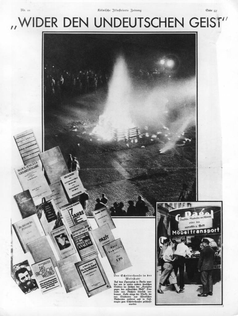 May 1933:  An advertisement showing the burning of communist and Jewish books, branded as offensive, in the 'struggle against anti-German feeling', at the Operaplace, Berlin.  (Photo by Hulton Archive/Getty Images)