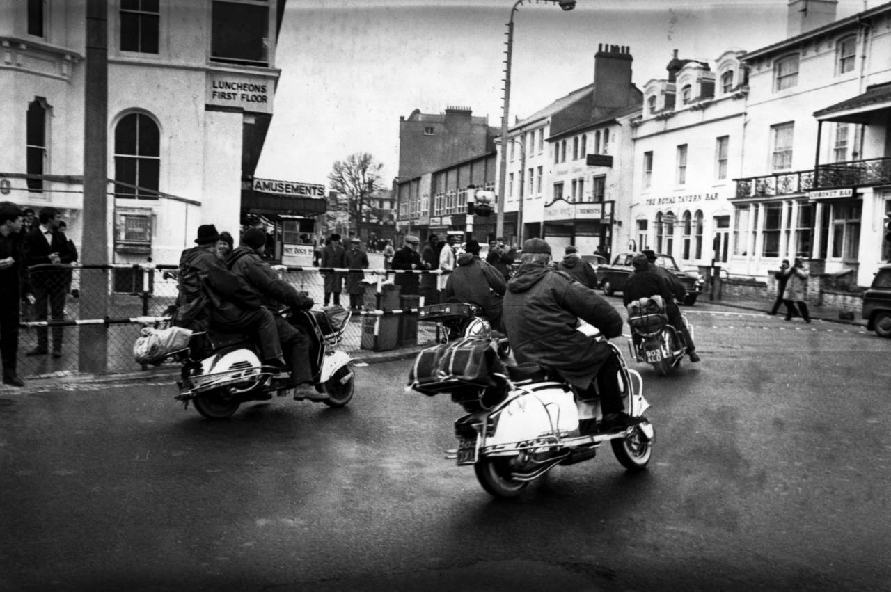 31st March 1964:  Mods on scooters at Clacton-on-Sea in Essex.  (Photo by Terry Disney/Express/Getty Images)
