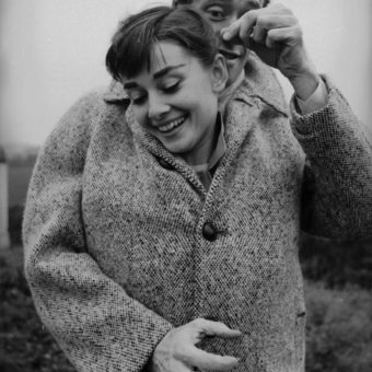 1956: Audrey Hepburn And Husband Mel Ferrer On A Windy County Road Outside Paris