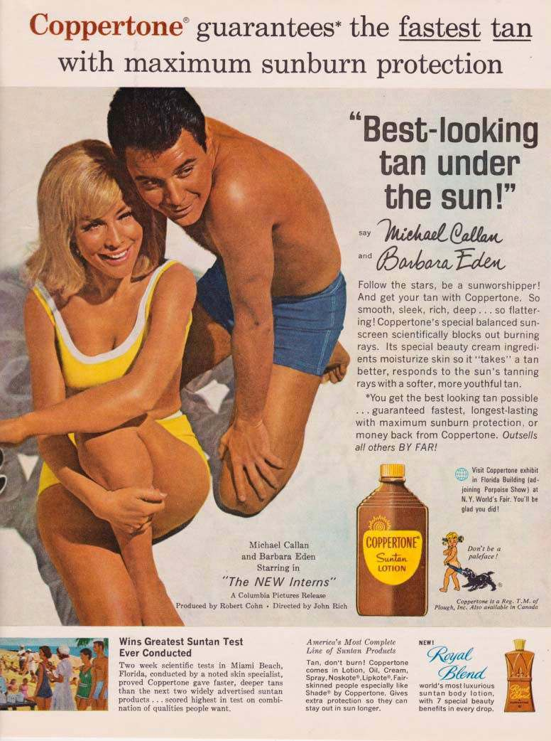 BARBARA EDEN COPPERTONE SUNTAN LOTION AD 1964