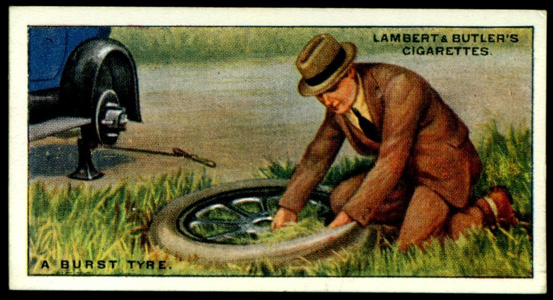 "Lambert & Butler's cigarettes ""Hints & Tips For Motorists"" (series of 25 issued in 1929) #11 ""A Burst Tyre"""
