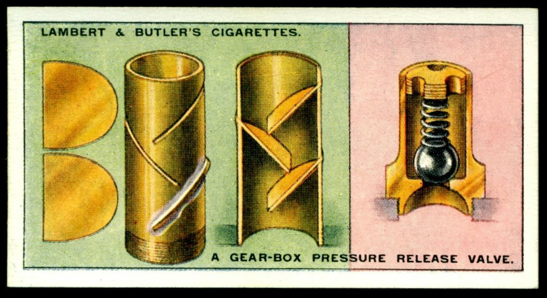 "Lambert & Butler's cigarettes ""Hints & Tips For Motorists"" (series of 25 issued in 1929) #14 a gear-box pressure release valve"