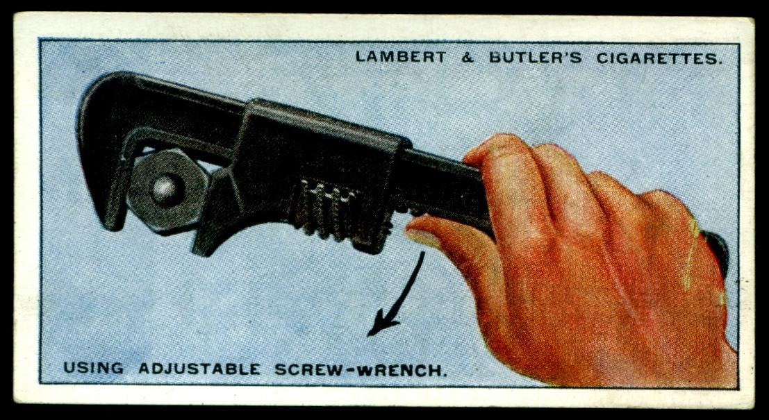 "Lambert & Butler's cigarettes ""Hints & Tips For Motorists"" (series of 25 issued in 1929) #15 Using adjusatable screw-wrench"