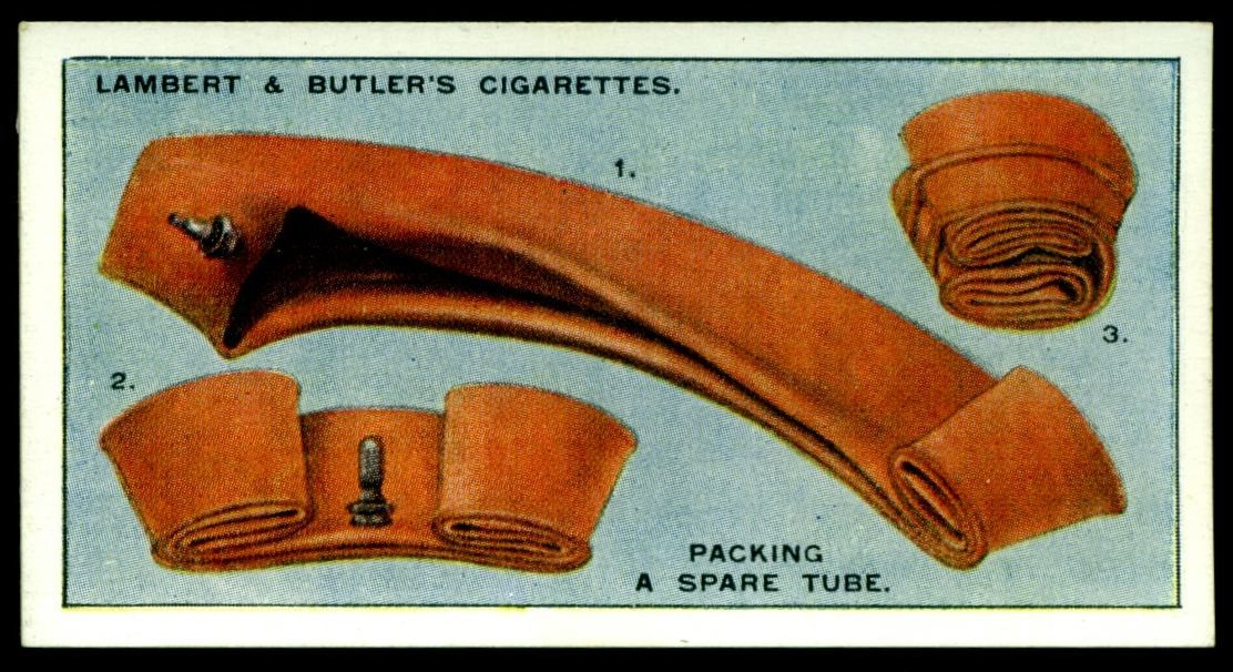 "Lambert & Butler's cigarettes ""Hints & Tips For Motorists"" (series of 25 issued in 1929) #16 Packing a spare tube"