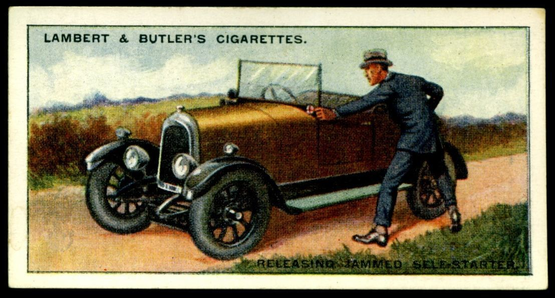 "Lambert & Butler's cigarettes ""Hints & Tips For Motorists"" (series of 25 issued in 1929) #17 Releasing a jammed self starter"