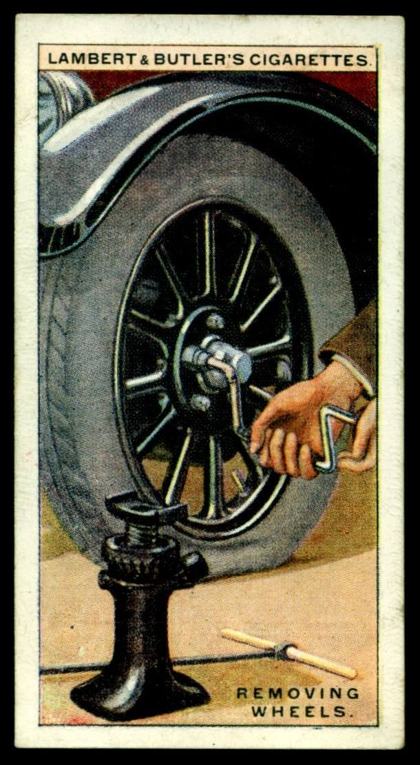 "Lambert & Butler's cigarettes ""Hints & Tips For Motorists"" (series of 25 issued in 1929) #20 Removing Wheels"