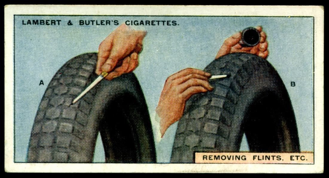 "Lambert & Butler's cigarettes ""Hints & Tips For Motorists"" (series of 25 issued in 1929) #21 Removing flints etc"