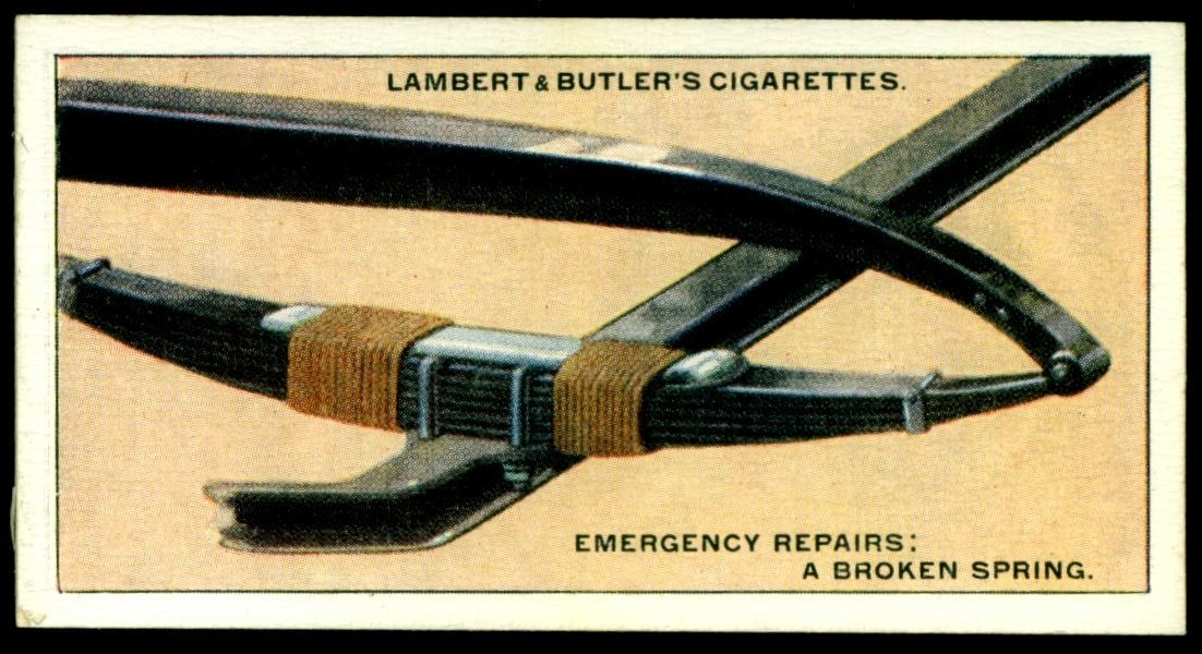 "Lambert & Butler's cigarettes ""Hints & Tips For Motorists"" (series of 25 issued in 1929) #24 Emergency repair of a broken spring"