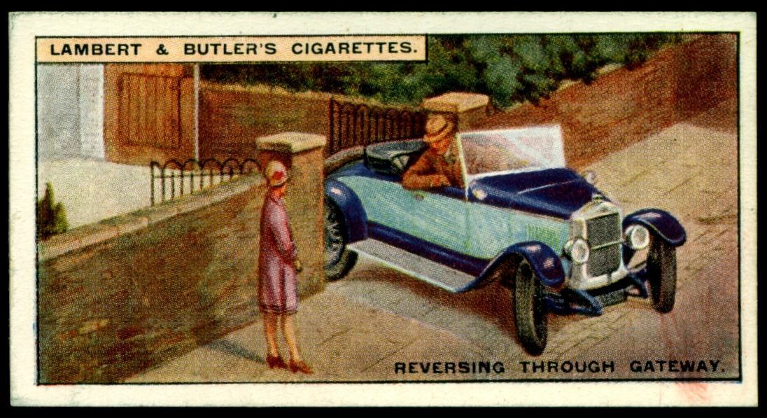 "Lambert & Butler's cigarettes ""Hints & Tips For Motorists"" (series of 25 issued in 1929) #5 ""Reversing Through A Gateway"""