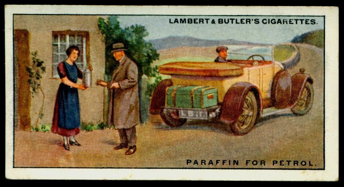 "Lambert & Butler's cigarettes ""Hints & Tips For Motorists"" (series of 25 issued in 1929) #6 ""Paraffin For Petrol"".jpg"