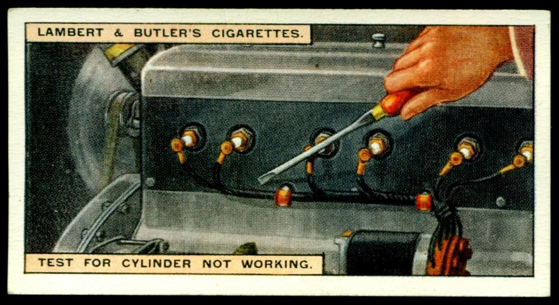 "Lambert & Butler's cigarettes ""Hints & Tips For Motorists"" (series of 25 issued in 1929) #7 ""Test For Cylinder Not Working"""