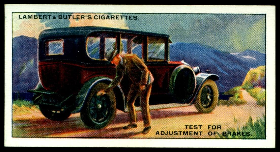 "Lambert & Butler's cigarettes ""Hints & Tips For Motorists"" (series of 25 issued in 1929) #8 ""Test For Adjustment Of Brake"""