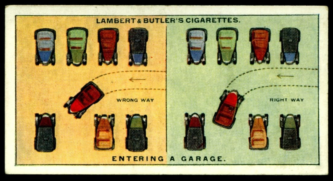 "Lambert & Butler's cigarettes ""Hints & Tips For Motorists"" (series of 25 issued in 1929) #4 ""Entering A Garage"""