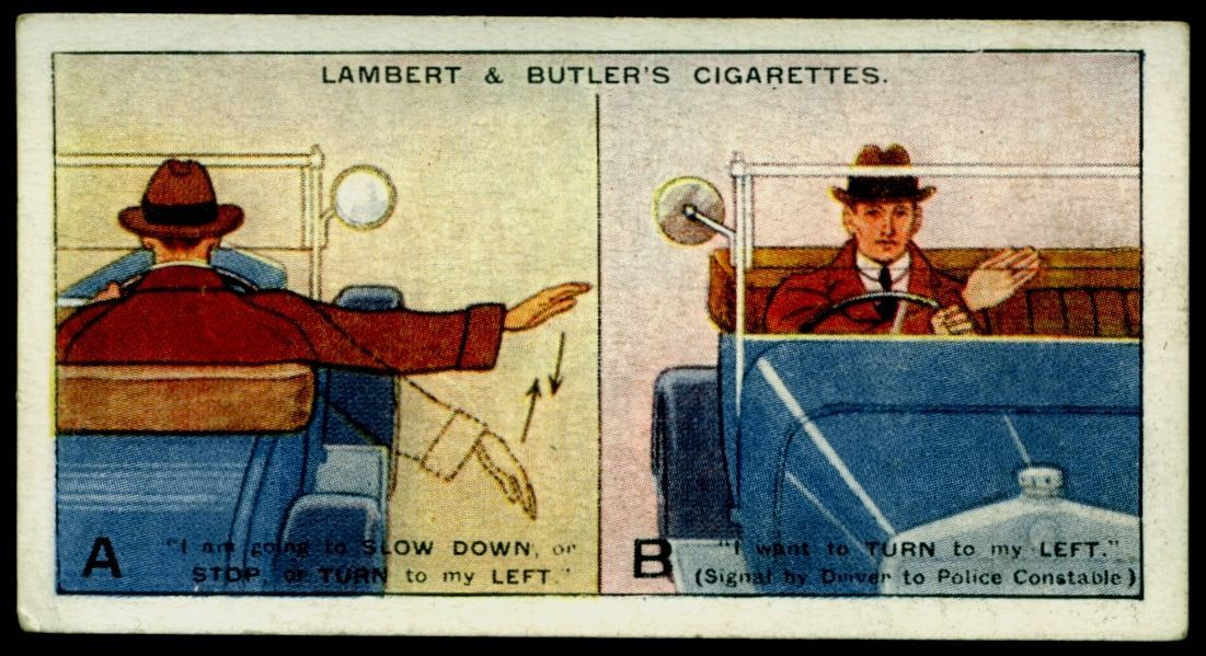 "Lambert & Butler's cigarettes ""Hints & Tips For Motorists"" (series of 25 issued in 1929) #1 Hand Signals"