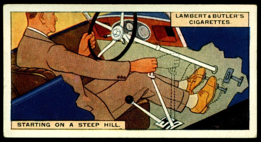 "Lambert & Butler's cigarettes ""Hints & Tips For Motorists"" (series of 25 issued in 1929) #3 ""Starting On A Steep Hill"""