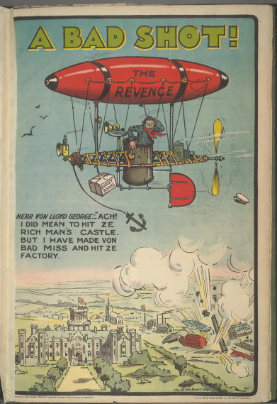 A poster for the British Conservative Party from the 1909 General Election. It depicts Liberal Chancellor of the Exchequer David Lloyd George (1863 - 1945) as a German, accidentally bombing a tobacco factory from the zeppelin Revenge, with the caption 'A bad shot! Herr von Lloyd George: Ach! I did mean to hit ze rich man's castle. But I have made von bad miss and hit ze factory'. Artwork by Jack Walker.