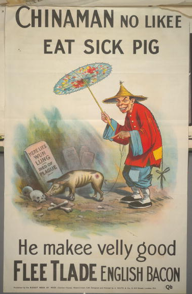A poster for the British Conservative Party from the General Election, circa 1909. It depicts a Chinese man pointing at a diseased pig rooting around the grave of 'Wun Lung', and saying 'Chinaman no likee eat sick pig. He make velly good Flee Tlade English bacon'