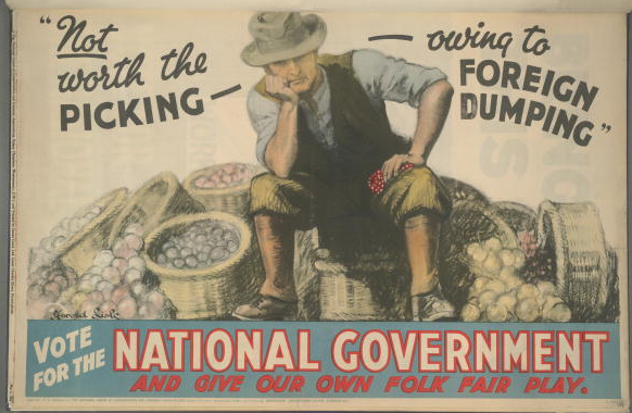 British Conservative Party poster for the National Government coalition from the 1931 General Election. It depicts a dejected farmer with the caption 'Not worth the picking - owing to foreign dumping. Vote for the National Government and give our own folk fair play'. Artwork by Harold Sisle.