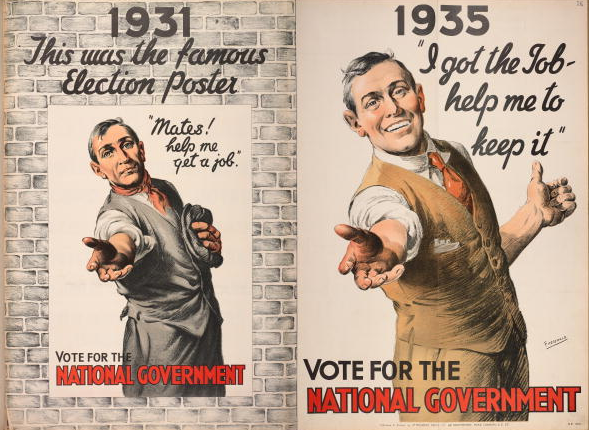 A 1935 UK General Election poster for the coalition National Government juxtaposing old and new versions of a poster depicting a worker reaching out to the voter. The caption reads: '1931: This was the famous election poster, 'Mates, help me get a job!'. Vote for the National Government. 1935: 'I got the job, help me to keep it!''. In the later poster, the worker is better dressed with a white collar and has cigarettes in his waistcoat pocket.