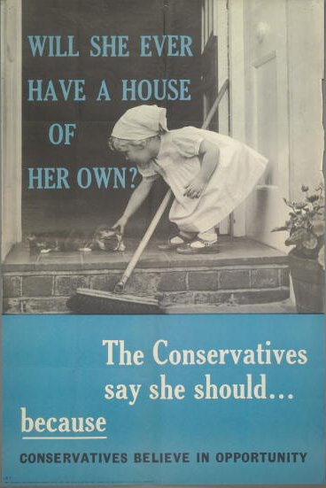 A 1958 press advertisement for the British Conservative Party depicting a a toddler stroking a cat on a doorstep with the caption 'Will she ever have a house of her own? The Conservatives say she should...because Conservatives believe in opportunity'