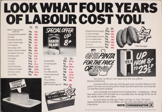 A newspaper advertisement for the British Conservative Party from the General Election, circa 1978. It depicts the increased price of various foodstuffs with the caption 'Look what four years of Labour cost you'. Advert by Saatchi & Saatchi