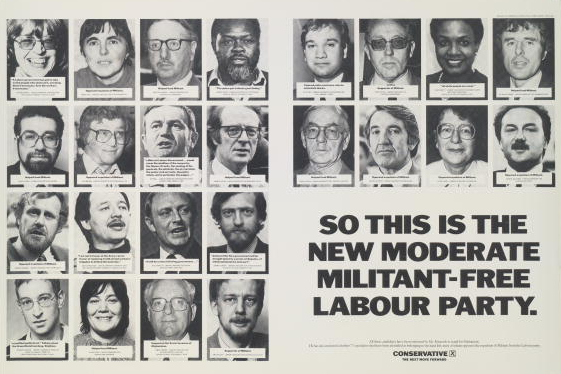 A newspaper advertisement for the British Conservative Party from the 1987 General Election. It depicts a number of quotations from hard-left Labour politicians with the caption 'So this is the new moderate militant-free Labour Party'. Advert by Saatchi & Saatchi.