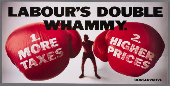 A poster for the British Conservative Party from the 1992 General Election. It depicts a boxer wearing the gloves of 'More taxes' and 'Higher prices', with the caption 'Labour's double whammy'.