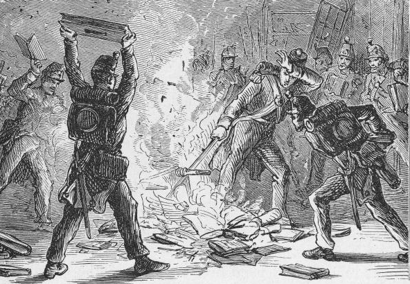 Illustration of British soldiers burning books in piles within the U.S. Library of Congress, Washington, D.C., circa 1814.