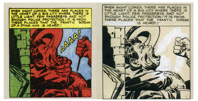 "[""The League of Handsome Devils"" from Issue 2 of Fighting American] was published shortly before the Comics Code enveloped the U.S. comic book marketplace, dumbing things down and shoving the smaller publishers—like the one publishing Fighting American—off the newsstands and out of business. In 1966, Joe Simon and Harvey comics… put out a Fighting American reprint book…. It was issued under the Code and the censors required changes, which were made right on the on the original art. Of particular note is the first panel of the second page. An ice pick, clearly visible in the original printing, was surgically removed from the assailant's hand and some of the text was altered."