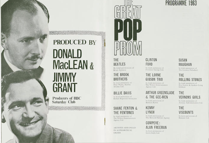 A programme for The Beatles and The Rolling Stones at 'The Great Pop Prom', Royal Albert Hall, 15th September 1963,