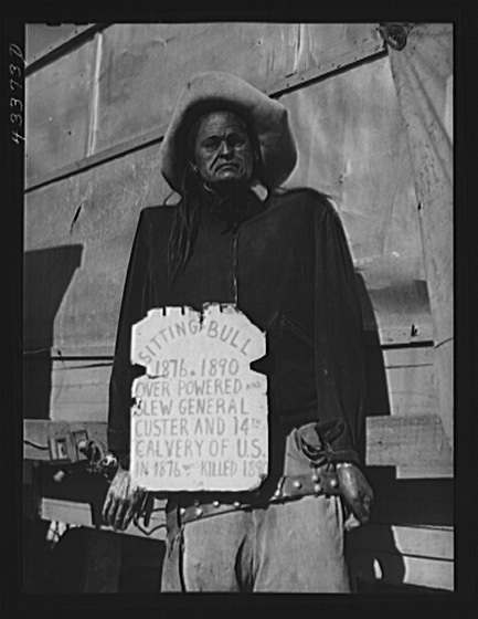 "Title: An effigy of Sitting Bull, part of the exhibit of the travelling sideshow ""crime museum."" Near Fort Bragg, North Carolina Creator(s): Delano, Jack, photographer Date Created/Published: 1941 Mar."