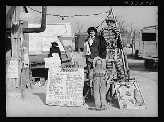"Title: A traveling side-show. ""Crime Museum,"" consisting of a dilapidated effigies of famous criminals run by an old, shellshocked World War veteran. Near Silver Lake, North Carolina Creator(s): Delano, Jack, photographer Date Created/Published: 1941 Mar."