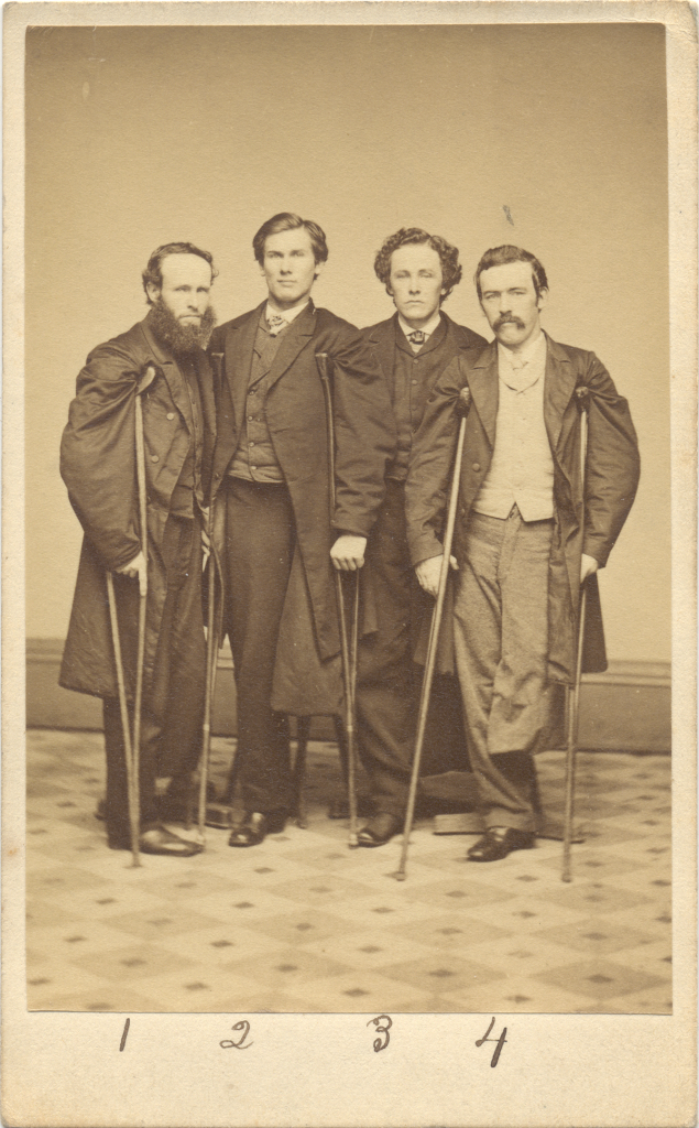 Veterans John J. Long, Walter H. French, E. P. Robinson, and an unidentified companion, 1860s Courtesy Library of Congress