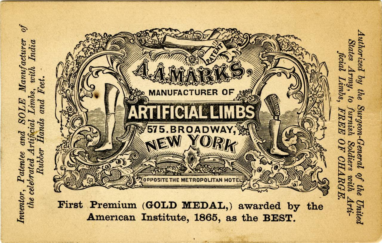 Reverse of A. A. Marks advertising card, late 1800s Courtesy Warshaw Collection, Archives Center, National Museum of American History, Smithsonian Institution