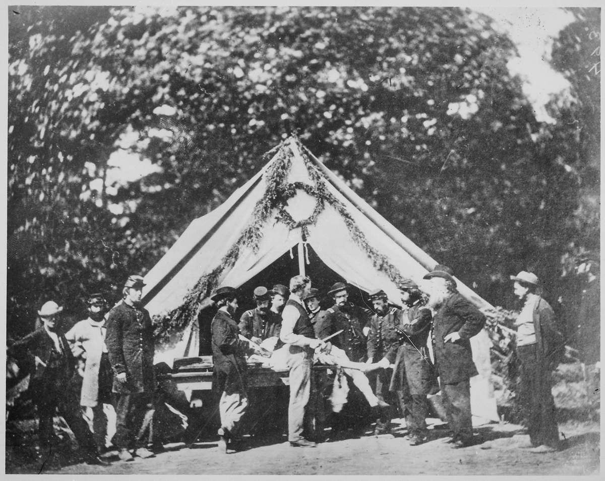 Amputation being performed in front of a hospital tent, Gettysburg, July 1863 Courtesy National Archives and Records Administration