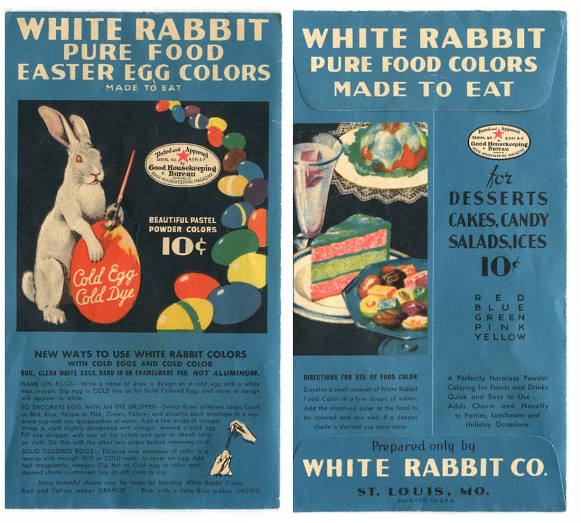 Package of cold egg, cold dye White Rabbit Pure Food Easter Egg Colors - Made to Eat, with the Good Housekeeping Bureau Seal of Approval, Good Housekeeping Magazine.