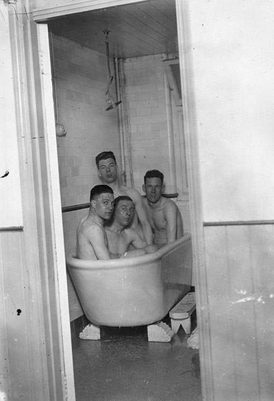 Fulham players enjoy a brine bath in Southend, in preparation for their important 1929-30 fourth-round FA Cup tie against Nottingham Forest