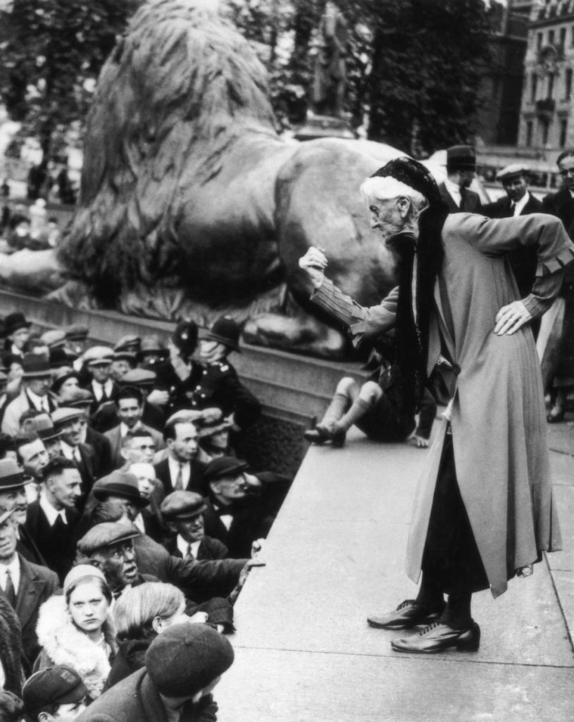 British suffragette Charlotte Despard (1844 - 1939) addresses the crowd in Trafalgar Square during a Communist rally, 11th June 1933. (Photo by Hulton Archive/Getty Images)