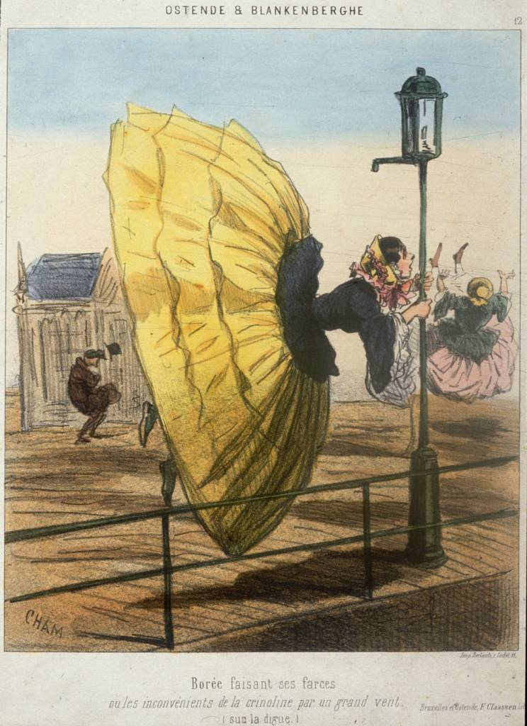 circa 1860:  The perils of crinoline in a high north wind! A young woman clings desperately to a lamppost at the seaside, while her skirt billows behind her.  Ostende & Blankenberghe.  (Photo by Hulton Archive/Getty Images)