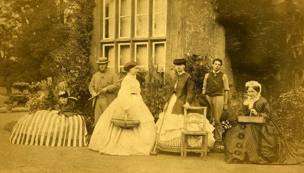 circa 1860:  A Victorian family in the garden.  (Photo by Colonel H. W. Verschoyle/Hulton Archive/Getty Images)