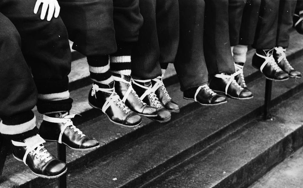 19th January 1939:  Wolverhampton Wanderers are favourites for the FA Cup in 1939. Here the team display their clean boots.  (Photo by Fox Photos/Getty Images)