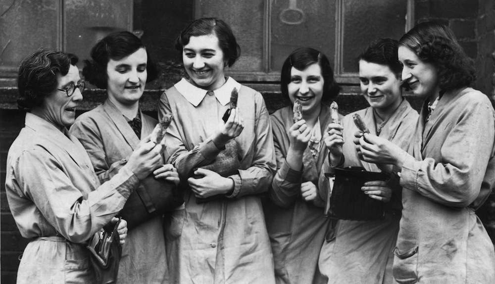 11th January 1939:  Yeovil factory workers who support Yeovil  football club, with their rabbits' feet which they hope will bring their team luck in their FA cup match against Sheffield Wednesday .  (Photo by Alan Webb/Fox Photos/Getty Images)
