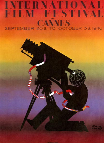 A poster for the first Festival International du film de Cannes, 1946. An illustration by Paul Colin.