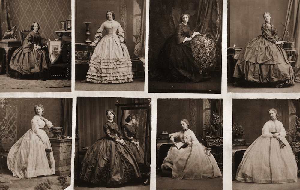 A series of images depicting Victorian women wearing crinolines,circa 1860.(Photo by Hulton Archive/Getty Images)